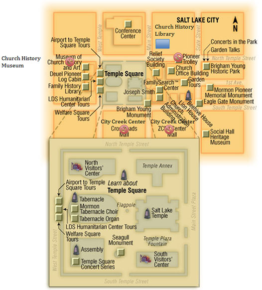 Temple Square Salt Lake City Utah Vacation Information – Salt Lake City Tourist Map